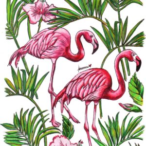 Flamingo in the forest